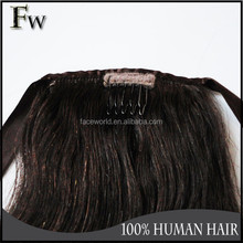 Machine human hair weft most popular ponytail hair extensions