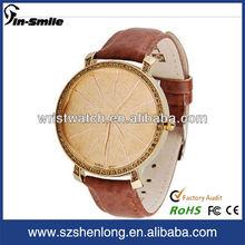 Q&q reloj correa de cuero genuino reloj hecho en china