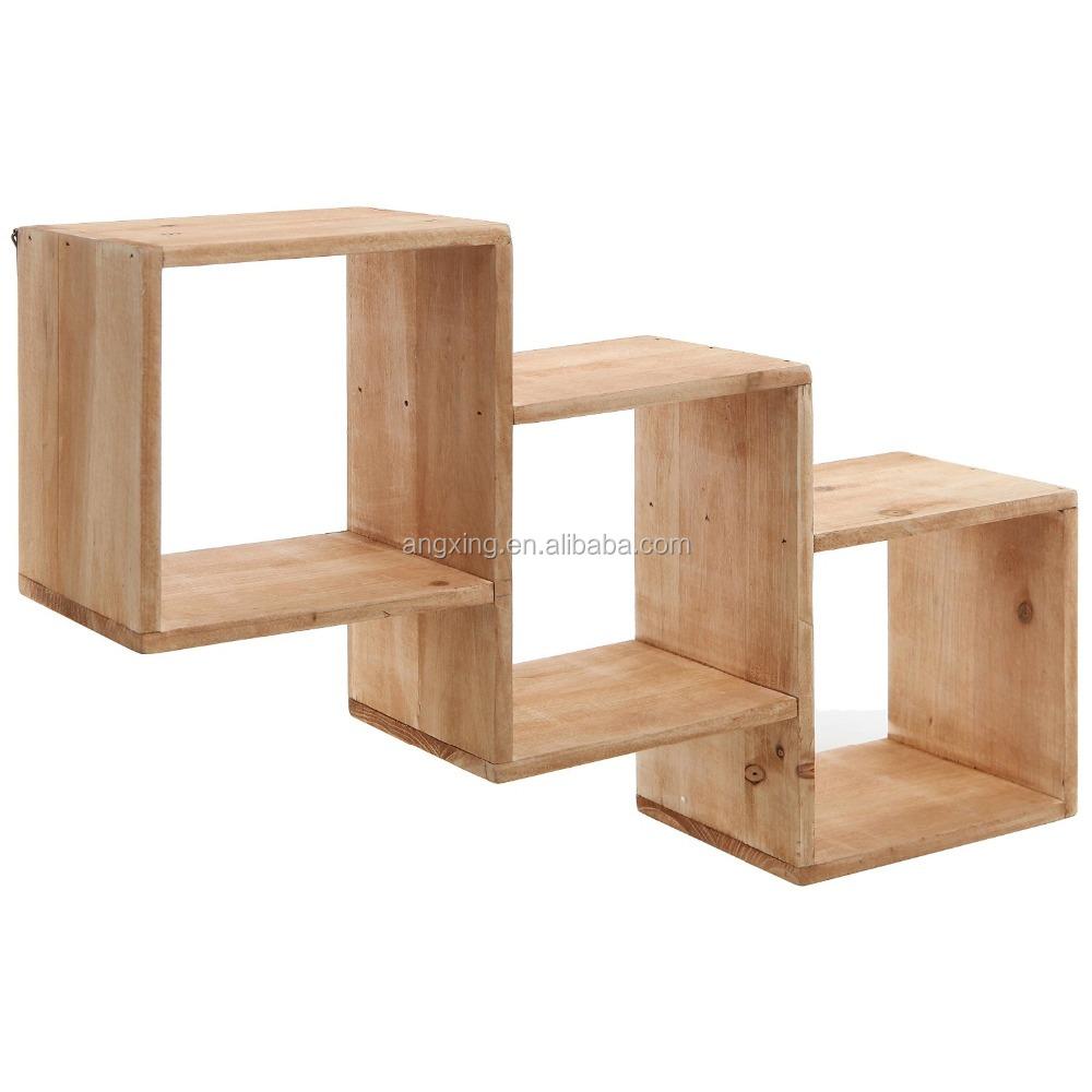 wall mounted natural wood square storage shelves rack. Black Bedroom Furniture Sets. Home Design Ideas