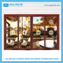 Durable wood treatment aluminum frosted glass sliding door