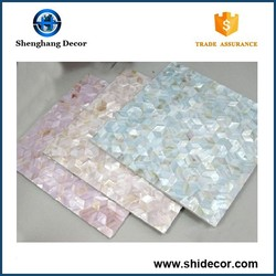 High quality natural decorative fresh water shell mosaic on mesh