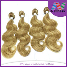 100% Virgin Malaysian Remy Body Wave Weaving Bundles Blond Hair Drawstring Ponytail