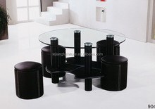 modern glass round dining table set for sale