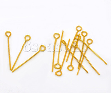 600PCs Gold Plated Eye Pins 20mm Findings