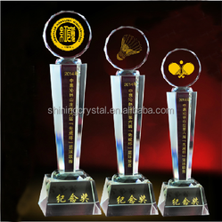 elegant crystal trophy for badminton and pingpang matches