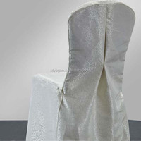 Luxury banquet chair cover ivory, jacquard satin hotel chair cover