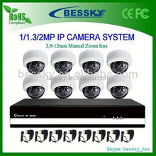 8ch complete full hd 1080p IP camera cctv system design,8 channel ip camera system day night