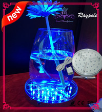 Round sliver rechargeable battery operated led centerpiece light base 6 inch vase led light for wedding/party decoration