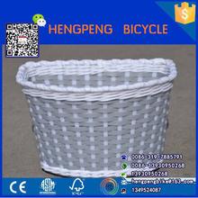 Natural white knitting wicker bike basket