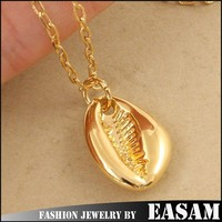 24k Golden cowrie shells jewelry,cowry shell pendant necklace