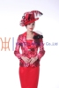 2015 new design red dresses for women with hats