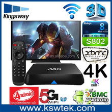 Hot selling quad core M8 android tv box fully loaded 2gb ram 8gb flash free internet M8 android tv box
