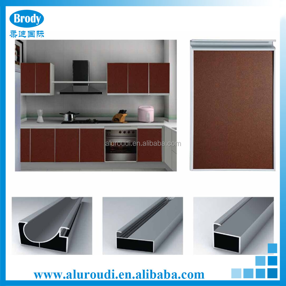 Brown wall hanging aluminum kitchen cabinet