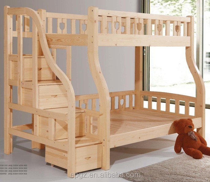 Double durable modern adult solid wood bunk bed beech solid wood children bedroom furniture Unfinished childrens bedroom furniture