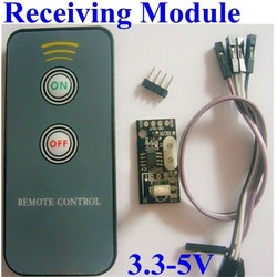 RF Transmitter and Receiver Module switching signal output with remote controller (2 buttons on and off ) 3.3v-5v