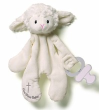 Plush Soothing Baby Toy Lamb with Pacifier Clip/Stuffed Animal Toy and Silicon Pacifier Clip/Stuffed Toy Blanket 18cm for Babies