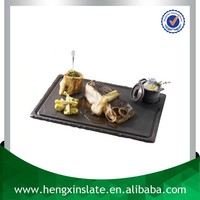 Handmade Wholesale Natural Edge 30*20*0.5cm Rectangle Grooved Black Slate Steak Plate Unique Black Slate Serving Tray