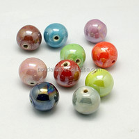10mm Mixed Round Handmade Pearlized Porcelain Ceramic Beads