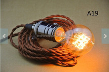 socket Twisted Fabric Wire - 250cm 8.2ft Cloth cord - Antique Vintage Style light bulb - Edison light bulb Lamp - wall Plug