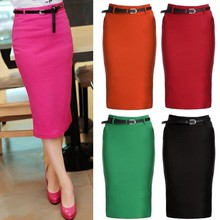 New Women's Fit Stretch Pencil office wear long skirt design With Belt Style SV014369
