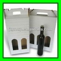 white kraft paper corrugated board E flute offset printing paper packaging box for wine bottle carrier