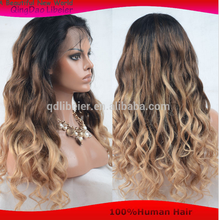 6A Wholesale virgin brazilian hair straight ombre color hair full lace wig