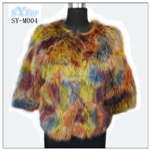 hot fashion korean style Ladies raccoon fur short coat for sale with colorful colors