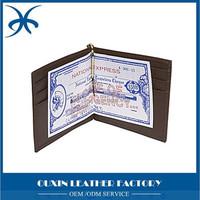 multi-functional leathe dollar clip Euro cent clip Japanese yen clip Handmade card holder money wallet