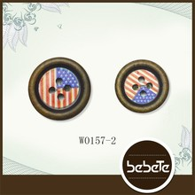 custom laser engraved wooden buttons ,custom flag clothing buttons