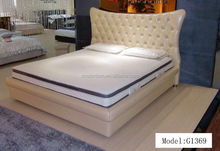 fashion king size bed white leather bed from Foshan G1369