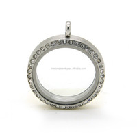 30mm Silver Rhinestones Floating Lockets 316L Stainless Steel Magnetic Floating Glass Memory Lockets