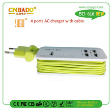 2015 Intelligent 4.2A 4 usb ports charger and one AC socket with 1.5M cable for 5 mobile devices...