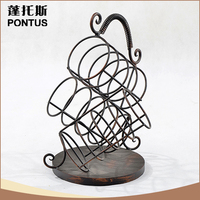 Novelty design home decoration retro metal wine display stand