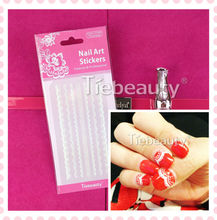 2015 Tiebeauty Gold Silver Black White Lace Nail Art Stickers for Girls