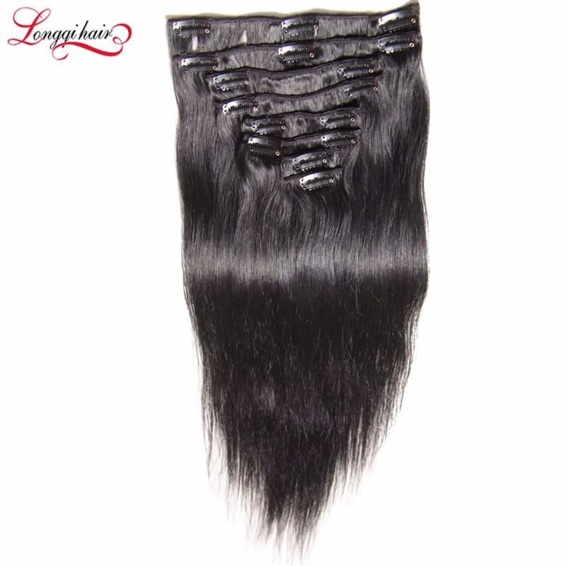 Korean Clip In Hair Extension 26 Inch Human Hair Remi Clip In Hair