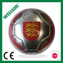 Machine stitched mini silver soccer ball