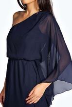 Vestidos forme a mujeres la muchacha ropa azul marino caftanes un hombro asimétrico de gasa vestido