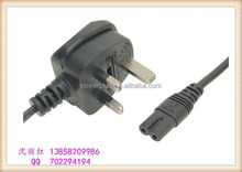 wholesale uk 3 pin power plug with IEC C7 connector