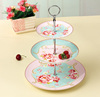 Supplier wholesale pretty porcelain 3 tier floral cake stand