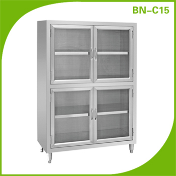 Catering equipment stainless steel kitchen storage tall cabinet with gauze hinged doors by for Tall stainless steel bathroom cabinet
