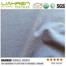Bamboo single jersey fabric with cotton and spandex for T shirt