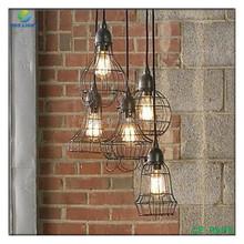 Wire Cage Pendant Light Industrial Loft Suspension Ceiling Light Edison