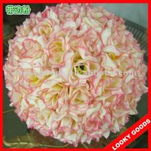 pink color artificial wedding decorative ball,wedding kissing ball,artificial flower ball