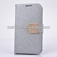 Pu Leather Case For Samsung Galaxy S4 Silver Wallet Flip Magnetic Glitter Coated Bling Rhienstones Diamonds Cover