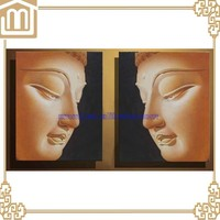 Hand painted multi-panel oil paintings buddha face abstract oil paintings