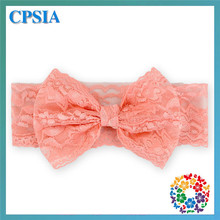 2015 Fashion latest Wholesale Baby Girl Coral Lace Flower beautiful bow Headbands Hair Accessories