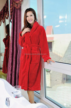 personalized red women coral fleece bathrobe with good quality
