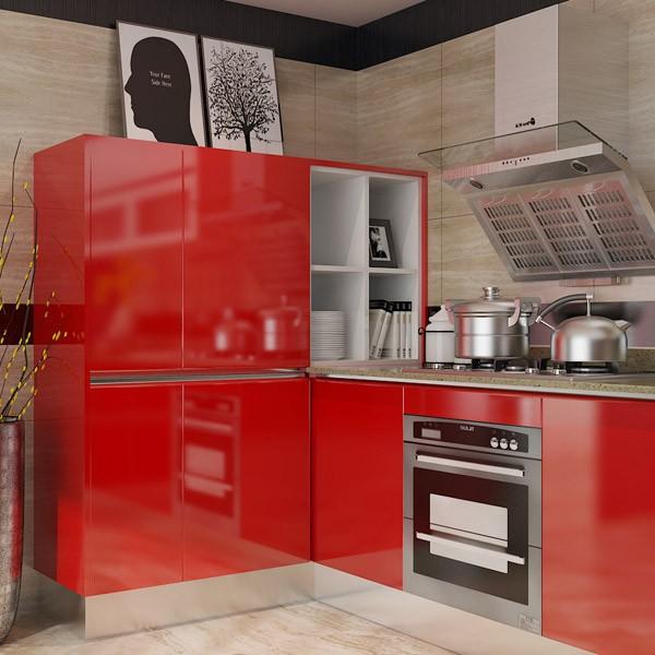 OPPEIN kitchen cabinets Red Bespoke Modular Modern Kitchen cabinet