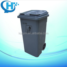 120L solid garbage cans with wheels wood dustbin