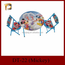 DT-22 Metal folding study folding outdoor round children table and 2 children chair